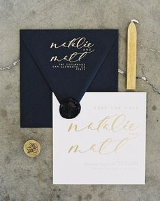 """Gold foil save the date from our Alchemist suite in the #monvoircollection with our Rose wax seal  - go shop our new wedding collection and wax seals…"""