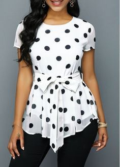 Belted Round Neck Polka Dot Print T Shirt trends Simple,fall 2019 fashion trends Color Palettes,fall fashion trends ,fall fashion trends Purses,fall Blouse Styles, Blouse Designs, Polka Dot Print, Polka Dots, Stripe Print, Trendy Tops For Women, New Tops For Girls, Stylish Tops, Maxi Dresses