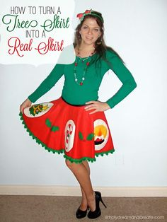 How fun is this? Simply Dream Create: How To Turn A Tree Skirt Into A Real Skirt. Perfect for a tacky Christmas sweater party. Ugly Christmas Tree, Tacky Christmas Party, Tacky Christmas Sweater, Ugly Sweater Party, Christmas Diy, Christmas Outfits, Diy Ugly Christmas Skirt, Ugly Sweater Couple, Christmas Costumes