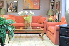 Sofa and Love Seat $545.00. Coral. - Consign It! Consignment Furniture