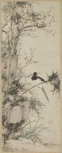 YAMAMOTO Baiitsu(山本 梅逸 Japanese, 1783-1856) Plum, Narcissus, and Bamboo with Magpie 1832-1852 ink and color on silk