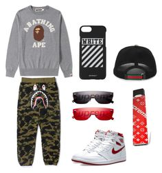 """""""#hypebeast"""" by natasyanab on Polyvore featuring A BATHING APE, NIKE, Louis Vuitton, Gucci, Off-White, men's fashion and menswear"""
