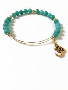 Ohm Charm Bracelet Aqua Quartzite Expandable Wire Bracelet Stainless Steel Teal Blue Beaded Bracelet Stacking Wire Bangle Bracelet (MBX134) by JulemiJewelry on Etsy