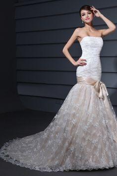 Trumpet Sleeveless Lace Court Train Wedding Dress. $284.99/Worldwide Shipping.