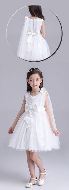A-Line/Princess Knee-length Flower Girl Dress - Organza/Polyester Sleeveless Scoop Neck With Sash/Bow(s)/Rhinestone $26.99 #Flowergirldress