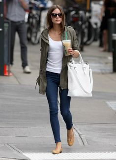 Green parka + white t-shirt + jeans + nude shoes