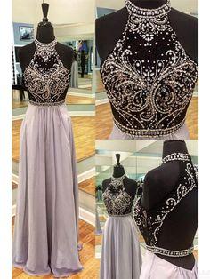 Halter Beading Bodice A Line Long Chiffon  Prom Dresses Evening Dresses #SIMIBridal #promdresses