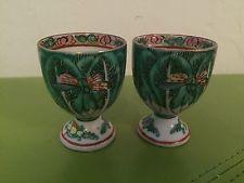 Antique Vintage Egg Holder Cup Famile Verte Cabbage Leaf China Hong Kong Green