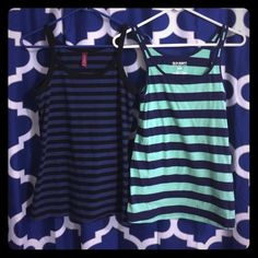 TWO striped tanks. One blue/black tank, size small and one mint/navy striped tank size medium. Old Navy Tops Tank Tops