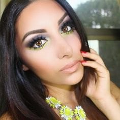 A gorgeous lime green eye shadow adds a pop of striking color to the usual smokey eye as seen in this look. Check out MAKE UP FOREVER's Artist Shadows for an intense pay-off and blendability.