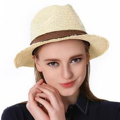 Color block sun hats for women UV straw panama hat travel beach wear