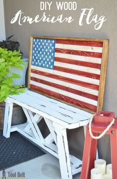 Easy patriotic rustic wood flag sign, the lumber will only cost about $9! Free plans and tutorial. Great for the 4th of July!