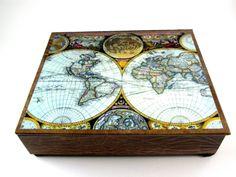 Decorative Box Old World Map Vintage Leather Look Desk Organizer - Antique map box