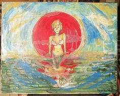 """Thanks+for+the+mermaids,+a+mixed+media+creation+onto+a+16""""+x+20""""+canvas+wrapped+wooden+frame.++"""