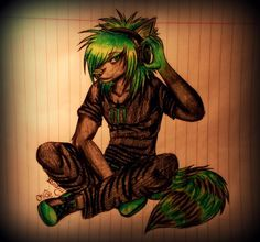 20 commission of 's character, Monster in anthro form - Done with biro pen and watercolour pencils. Character belongs to Art belongs to