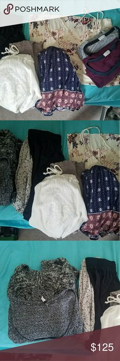 8 Item Bundle, mostly Brandy items Brandy Melville bundle, some are already listed on my page. Included are Ashtyn sweater, long sleeve oreo soft knit, mauve Blanche romper, white crochet Rhett romper (NWT), (no brand) boho romper, floral Heather skirt, black AA circle skirt (no tags), American Eagle cherry blossom tank (NWT), maroon and navy ringer tee (John Galt), grey and black pocket tee (John Galt).  A total of 10 items. Other items from my closet can be added in too at a discounted…