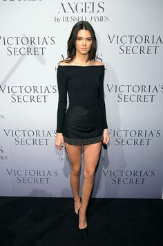 Kendall walked the red carpet at a Victoria's Secret Angel event last year in an off-the-shoulder top, miniskirt, and power pumps.