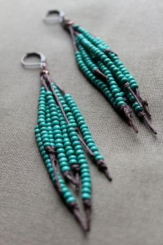 Vegan Feather Hemp Natural Earrings  Teal by PerpetualSunshine111, $24.00