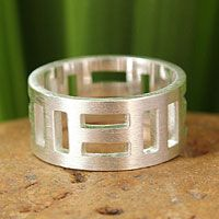 Sterling silver band ring, 'Symmetrical Mystique' by NOVICA