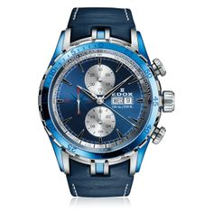 The Edox Grand Ocean Chronograph Automatic is intrinsically linked to yachting and water world. It is also the emblematic watch of the Extreme sailing series champion. Cool Watches, Watches For Men, Casio Watch, Chronograph, Ocean, Shorts, Shoe Bag, Stuff To Buy, Accessories