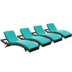 Brayden Studio Ludwick Chaise Lounge with Cushion Fabric: Turquoise