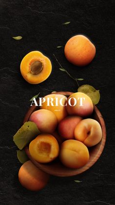 DAY Apricot An apricot is a fruit or the tree that bears the fruit. Apricots have been cultivated in Persia since antiquity, and dried ones were an important commodity on Persian trade routes. Apricots remain an important fruit in modern-day. Food Design, Photo Fruit, Mode Poster, Apricot Fruit, Fruits Photos, Fruit Photography, Fruits And Vegetables, Fresh Fruit, Food Styling