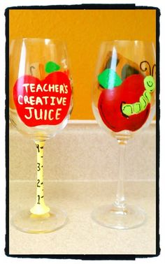 Hand Painted TEACHER'S Wine Glasses Custom by ThirstyTsCreations