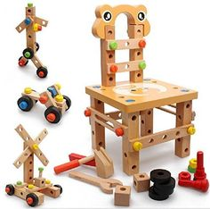 Toy Construction Tools - Vidatoy DIY Screw Block Activity Working Chair Construction Sets 52 Lovely Pieces Wooden Toys >>> Visit the image link more details. Wooden Blocks Toys, Wooden Toys, Jenga, Toys For Girls, Kids Toys, Baby Chair, Wooden Buildings, Fun Games For Kids, Christmas Toys