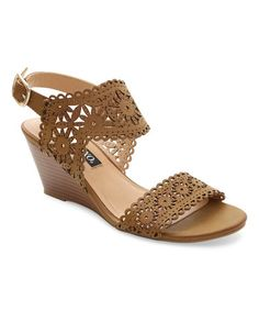 Loving this Tan Silica Wedge Sandal on #zulily! #zulilyfinds