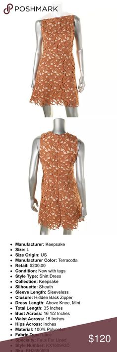 New with tags Keepsake terra-cotta dress size L Brand new, these are pictures of the actual dress for sale, not stock photos, I bought this dress and it is brand new with tags but does not fit me.  Please see last photo for details KEEPSAKE the Label Dresses