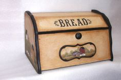 Wooden US-Midwestern Unsigned Antique Primitives Farm Kitchen Decor, Portable Kitchen Island, Primitive Folk Art, Primitive Country, Arte Country, Bread Boxes, Tole Painting, Wood Boxes, Vintage Kitchen