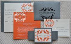 Oooooh!!! Orange and Pewter invitations!!! #modcloth #wedding #inviteinspiration