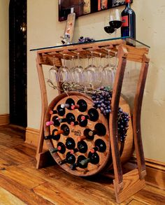 The Barrel Rack wine rack made from recycled oak wine barrels.