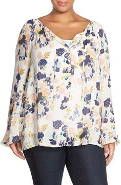 Lucky Brand Floral Print Peasant Top (Plus Size) available at #Nordstrom