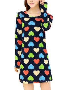 Allegra K Women's Round Neck Hearts Pattern Long Sleeves Knitting Shift Dress (Size S / 4)