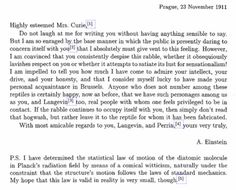 Albert Einstein Tells Marie Curie To Ignore the Haters in 1911 Letter