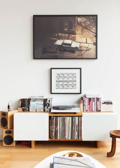 Bookshelf with records in console table