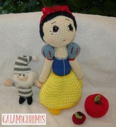 Amigurumi Muñeca Blancanieves - Patrón Gratis en Español  - Click aquí: http://www.galamigurumis.com/patron-blancanieves-princesa-de-crochet/  ( Se tiene que trabajar el patrón en el mismo blog ya que no se puede copiar ni imprimir)