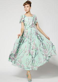 Vestido largo gasa floral manga corta-verde