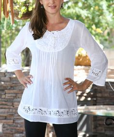 Another great find on #zulily! White Lace Tie-Up Tunic - Women #zulilyfinds