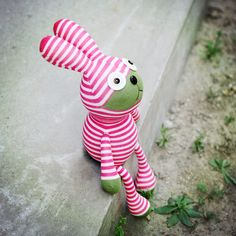 Kawaii Cute Day-Dreaming Striped Sock Bunnies/ Rabbits, Sock Animals, Children-Friendly, Handmade Home Decor, Handmade Gifts Sock Animals, Plush Animals, Sock Crafts, Sewing Crafts, Handmade Toys, Handmade Crafts, Sock Bunny, Sock Monster, Sock Puppets