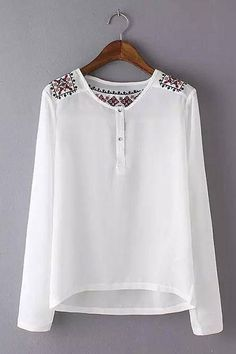 Women Embroidery white chiffon shirts long sleeve vintage office o neck blouse blusa feminina casual work wear tops new Blouse Styles, Blouse Designs, Trendy Outfits, Cool Outfits, Long Sleeve Tops, Long Sleeve Shirts, Pakistani Formal Dresses, Casual Work Wear, Hijab Fashionista