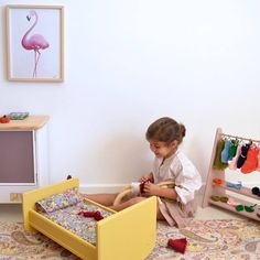 Wooden dolls bed. #woodentoys #woodencrib #toycrib #macarenabilbao