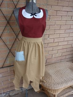 SNOW WHITE PEASANT women's full apron. Disney Princess inspired. servant maid work apron costume. Hostess Bridal Birthday gift.. $32.99, via Etsy.