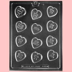 Conversation Heart Chocolate Mold from Layer Cake Shop!  For homemade Valentines chocolates!  Visit layercakeshop.com for more molds and candy making supplies and packaging!  #baking