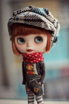 cute as can be Blythe in her plaid cap
