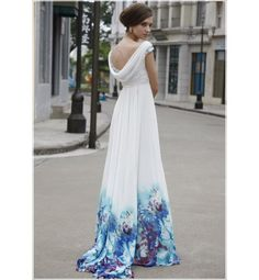 Image detail for -Cute Blue & White Tie Dye Long Satin Semi Formal Evening Party Dress