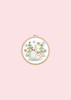 Baby seal, pattern for kid's, nursery decor, pet cross stitch, animal cross stitch, winter decor, modern embroidery, cute cross stitch, baby