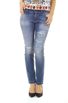 Dolce & Gabbana Ladies Stone Washed Distressed Jeans #DolceGabbana #Relaxed