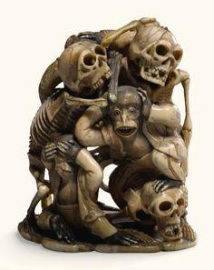 group of dancing skeletons and Crane, Wood Insert, Cellphone Wallpaper, Old Master, Asian Art, Japanese Art, Modern Art, Lion Sculpture, Skeletons